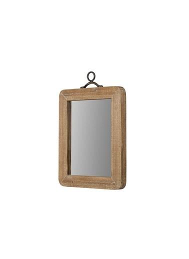 Warm Design Küçük Ahşap Çerçeveli Duvar Aynası Kahve